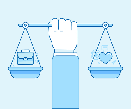 Vector flat linear illustration in blue colors - work and personal life balance concept - hand holding scales with portfolio and heart