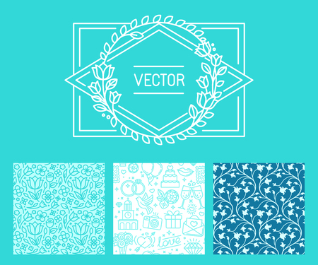 pattern: Vector set of design elements and templates for wedding invitation and greeting cards - seamless patterns with linear icons and vintage border with copy space for text