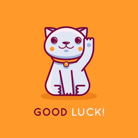 Vector platte lineaire afbeelding en logo ontwerpsjabloon - maneki neko kat wensen succes met opgeheven poot - glimlachend karakter en mascotte brengen fortuin en rijkdom