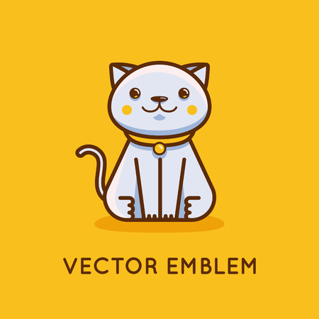 line drawings: Vector icon, illustration and logo design template in cartoon linear style - happy kitten - veterinary and pet store concept. Illustration