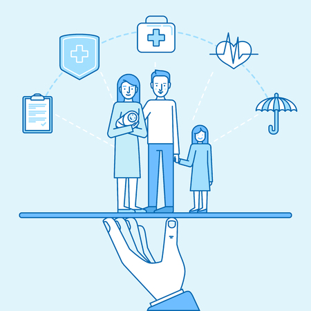 two: Vector illustration and infographics design elements in modern flat linear style - health and family  insurance concept - happy family with two kids