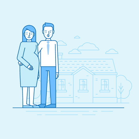 baby: Vector flat linear illustration in blue colors - happy young family and expecting parents - pregnant woman with her husband standing in front of house landscape.