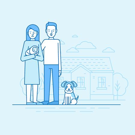 家の前で夫と犬の地位と新生児を持つ青の色 - 幸せな若い家族 - 女性のベクトル平面線形図。