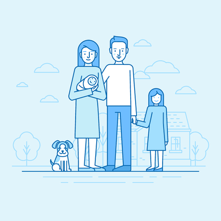 happy couple: Vector flat linear illustration in blue colors - happy young family -  woman holding newborn with her husband, daughter and dog standing in front of house.