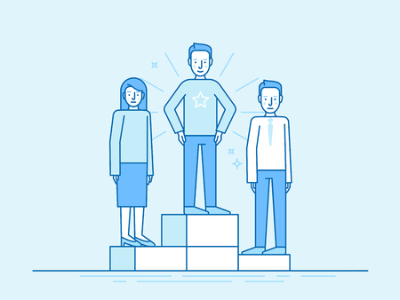 business team: Vector illustration in trendy flat linear style in blue colour - business competition winner - people standing on the podium on the first, second and third place - career achievement