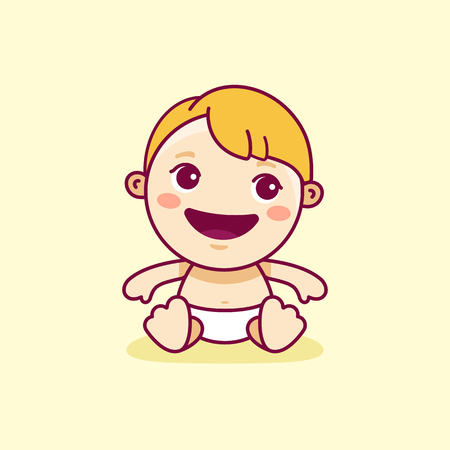 character cartoon: Vector logo design template in cartoon flat linear style - little smiling baby - love and care concept -  emblem, mascot, sticker or badge for kids store, center, packaging, clothes, company making child goods and products, playground or entertainment clu Illustration