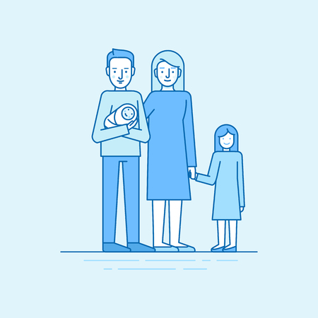 family man: Vector flat linear illustration in blue colors - happy young family -  man holding newborn with his wiife daughter - parenting concept Illustration
