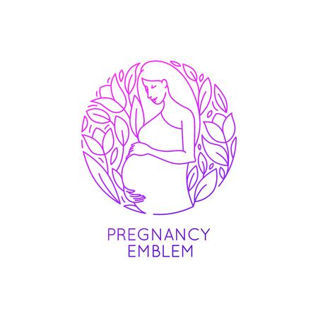 Vector ronde logo ontwerp sjabloon en embleem in trendy lineaire stijl - zwangerschap en zwangerschap - gelukkige zwangere vrouw met bloemen en bladeren - natuurlijke en gezonde moederschap concept
