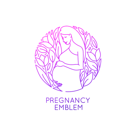 Vector round logo design template and emblem in trendy linear style - pregnancy and maternity - happy pregnant woman with flowers and leaves - natural and healthy motherhood concept