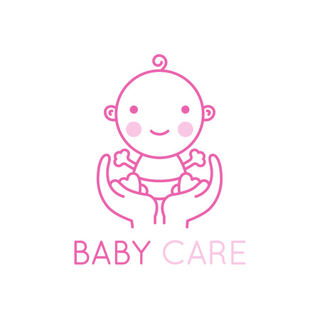 child care: Vector logo design element and emblem - baby care and love concept - happy newborn in mothers hands - cartoon illustration - for kids store, center, packaging, clothes, company making child good