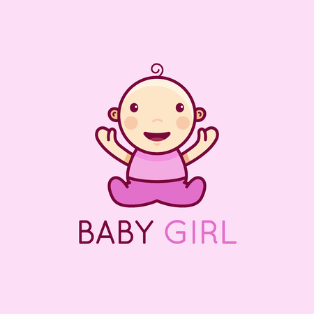 clothing store: Vector logo design template in cartoon flat linear style - little smiling baby girl - love and care concept -  emblem, mascot, sticker or badge for kids store, center, packaging, clothes, company making child goods and products, playground or entertainmen