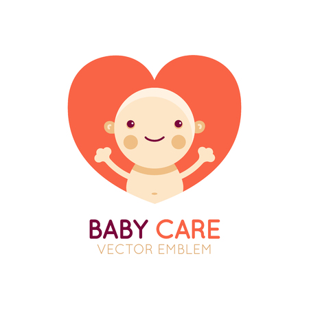 card: Vector logo design element and emblem - baby care and love concept - happy newborn cartoon illustration - for kids store, center, packaging, clothes, company making child good Illustration