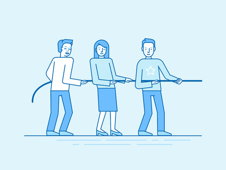 Vectorillustratie in trendy platte en lineaire stijl en blauwe kleuren - teamwerk concept - mensen trekken touw - zakelijke concurrentie en uitdaging - banner en infographics ontwerpsjabloon
