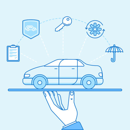 Vector illustration and infographics design elements in modern flat linear style - car insurance concept - hands protecting and supporting vehicle