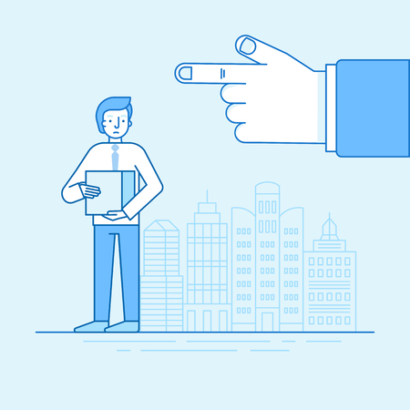 Vector illustration and infographic design in flat linear style - unhappy man lost his job - male character standing with box and boss hand pointing out Ilustração
