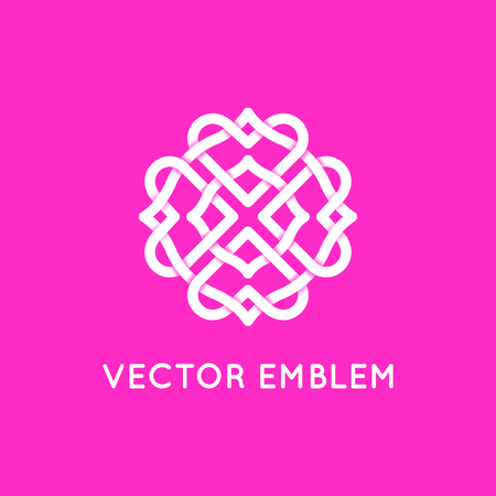 Vector logo design template and emblem made with overlapping lines - heart shapes - love and romance concept - illustration and sign for wedding invitations and cards Logo