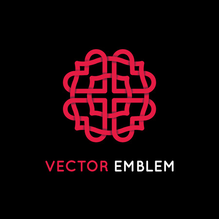 Vector logo design template and emblem made with overlapping lines - heart shapes - love and romance concept - illustration and sign for wedding invitations and cards