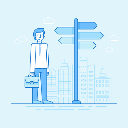 character cartoon: Vector flat linear illustration in blue colors - businessman choosing new way and perspective concept - male character standing near pointer with different directions
