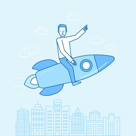 Vector illustratie en infografisch ontwerp in platte lineaire stijl - gelukkige man zitten op een raket - opstart concept - snel succes en business growth concept Stock Illustratie