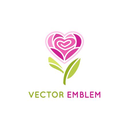 Vector logo ontwerp sjabloon en embleem - roos bloem in hartvorm - concept voor cosmetica en schoonheidsproducten verpakking Stock Illustratie