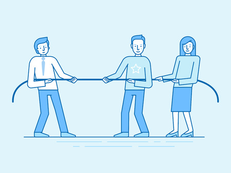 business team: Vector illustration in trendy flat and linear style and blue colors - teamwork concept - people pulling rope - business competition and challenge -  banner and infographics design template Illustration
