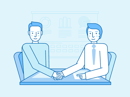 Vector illustration in flat linear style and blue colors - business partnership and cooperation - partners shaking hands at the office desk Illustration
