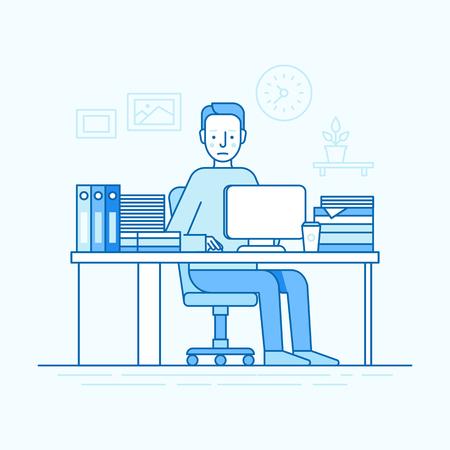 Illustration vectorielle dans un style linéaire linéaire à la mode et des couleurs bleues - homme travaillant assis au bureau avec un ordinateur et travailleur - employé occupé et surchargé Banque d'images - 79004175