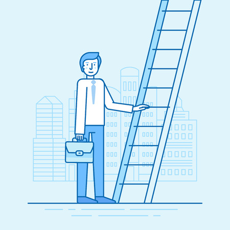 career up: Vector illustration in trendy flat linear style in blue colour - man walking up the staircase with briefcase - career development concept Illustration
