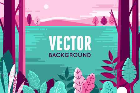 voyage: Vector illustration in trendy flat and linear style - background with copy space for text - plants, leaves and forest landscape.