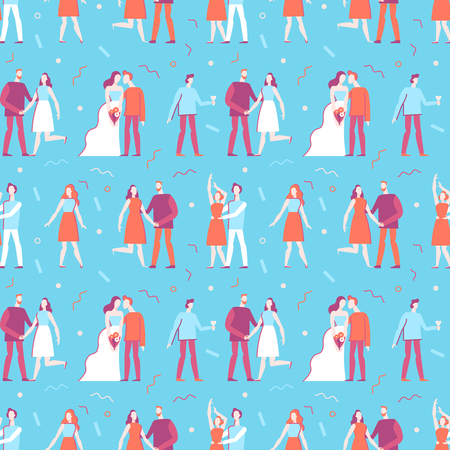 Vector seamless pattern in flat linear style - happy people at wedding party - illustration and design element for wedding invitation, save the date invitations or valentines day greeting card