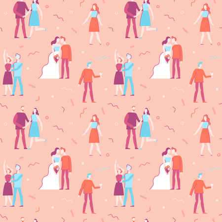 holiday party: Vector seamless pattern in flat linear style - happy people at wedding party - illustration and design element for wedding invitation, save the date invitations or valentines day greeting card