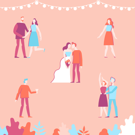 Vector flat linear illustration - set of characters at the wedding party -  illustration and design elements for wedding invitation, save the date cards ot valentines day greeting card