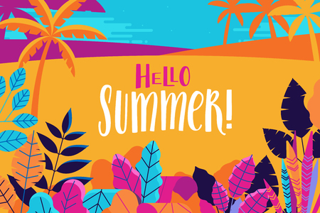Vector illustration in trendy flat and linear style - summer background with hand-lettering text hello summer - plants, leaves and forest landscape - background for banner, greeting card, poster and advertising Illustration