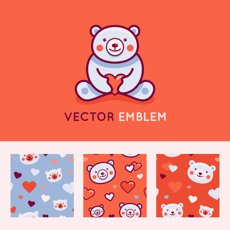 baby: Vector logo design template and seamless pattern in cartoon flat linear style - little smiling bear holding red heart - love and care concept -  emblem, mascot, sticker or badge for kids store, packaging, clothes, company making child goods