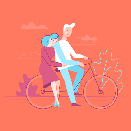 Vector flat linear illustration - happy couple in love - illustration and design element for wedding invitation, save the date cards ot valentines day greeting card - man and woman on the bicycle