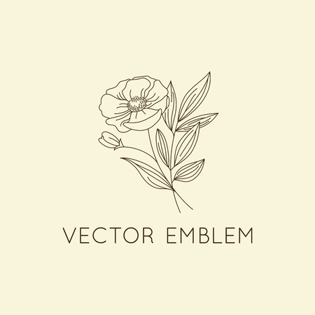 icon vector: Vector logo design template - floral illustration in simple minimal linear style - emblem and icon for natural cosmetics packaging - poppy flower