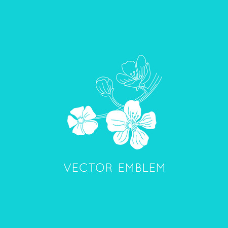 Vector logo design template - floral illustration in simple minimal linear style - emblem and icon for natural cosmetics packaging - cherry blossom