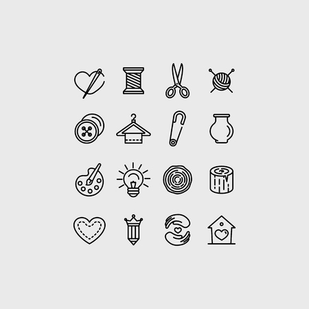 Vector set of linear icons related to handmade and hand craft - emblems and illustrations for all types of goods made with love manually by artists, tailors, designers and crafters Illustration