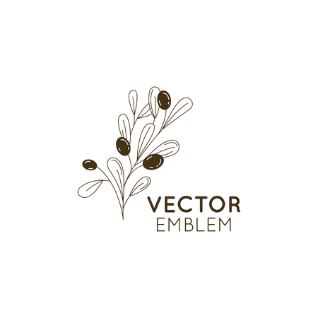 Vector olive oil icon and logo design element in trendy linear style - mono line illustration and concept for packaging of extra virgin olive oil and fresh farm product