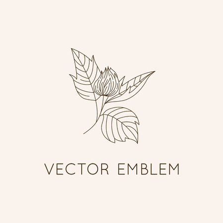 icon vector: Vector logo design template - floral illustration in simple minimal linear style - emblem and icon for natural cosmetics packaging