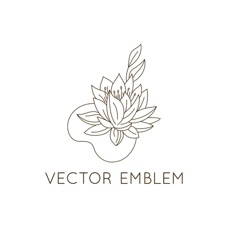 Vector logo design template - floral illustration in simple minimal linear style - emblem and icon for natural cosmetics packaging - water lily Ilustracja