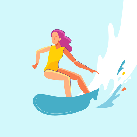 Vector summer illustration in modern trendy flat linear style - happy girl surfing - young character riding surf board - print for t-shirt, poster, card 向量圖像