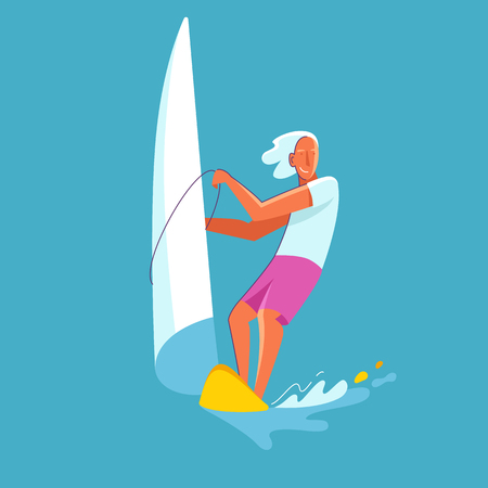 Vector summer illustration in modern trendy flat linear style - happy guy windsurfing - print for t-shirt, poster, card