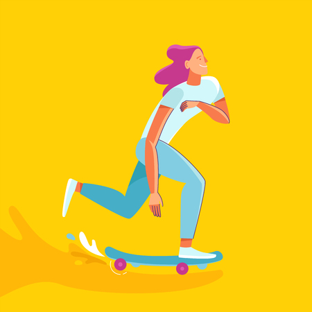 subculture: Vector summer illustration in modern trendy flat linear style - happy girl skateboarding - young character riding skateboard - print for t-shirt, poster, card Illustration