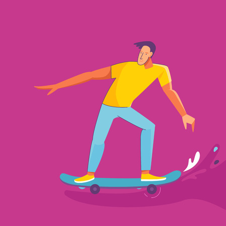 Vector summer illustration in modern trendy flat linear style - happy guy skateboarding - young character riding skateboard - print for t-shirt, poster, card Illustration