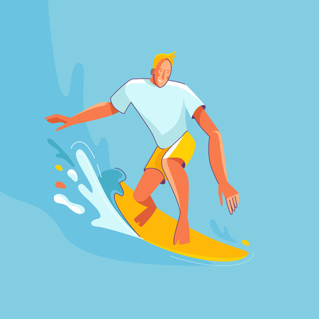 Vector summer illustration in modern trendy flat linear style - happy guy surfing - young character riding surf board - print for t-shirt, poster, card