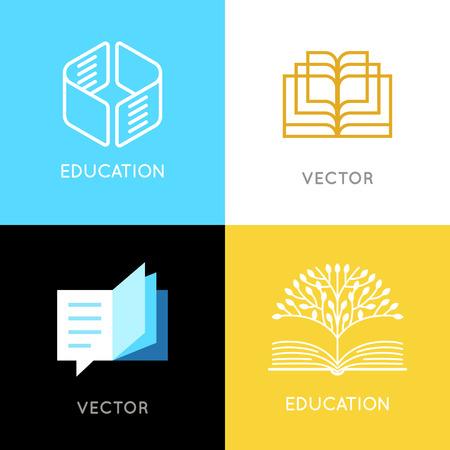 Conjunto de vectores de diseño de logotipos abstractos - conceptos de educación y aprendizaje en línea - emblemas de libros e iconos de cerebro - emblemas para cursos, clases, escuelas y editores en línea Logos