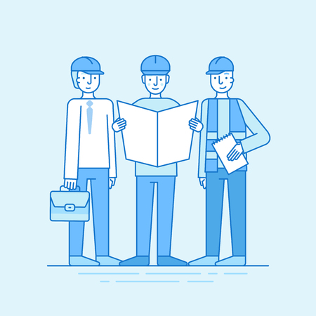 project: Vector illustration in line flat style and blue colors - building, construction and development business concept - people studying paper with design plan
