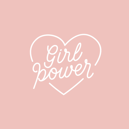 simple girl: Vector illustration in simple style with hand-lettering phrase girl power - stylish print for poster or t-shirt - feminism quote and woman motivational slogan