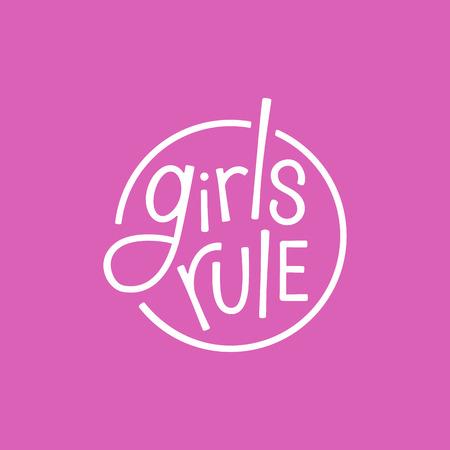 手レタリング フレーズ女の子ルール - ポスターまたは t シャツのスタイリッシュなプリント - フェミニズム引用と女性意欲を高めるスローガンでシ